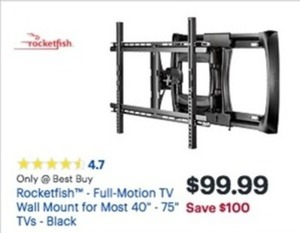 "Rocketfish - Full-Motion TV Wall Mount for Most 40"" - 75"" Tvs - Black"