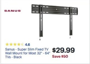 "Sanus Super SLim Fixed 32"" - 64"" TV Wall Mount"