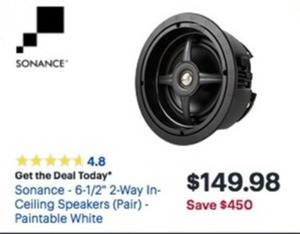 "Sonance 6.5"" 2-Way In-Ceiling Speakers (Pair)"