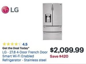 LG 27.8 4-Door French Door Smart Wi-Fi Enabled Refrigerator