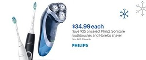 Select Philips Sonicare Toothbrushers or Norelco Shaver