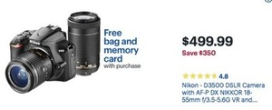 Nikon D3500 DSLR Camera w/ Free Bag & Memory Card