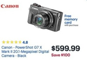 Canon Power Shot G7 X Mark Ii 20MP Digital Camera w/ Free Memory Card