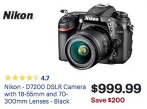 Nikon D7200 DSLR Camera With 18-55mm And 70-300mm Lenses