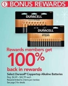 100% Back In Rewards w/ Select Duracell Battery Purchases