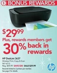 HP DeskJet 3637 + 30% Rewards