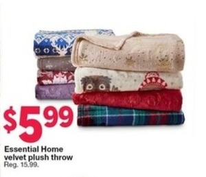 Essential Home Velvet Plush Throw