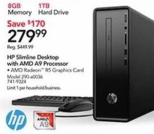 HP Slimine Desktop With AMD A9 Processor
