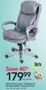 Serta Smart Layers Arlington Air Bonded Leather Executive Chair
