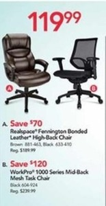 Realspace Fennington Bonded Leather High-Back Chair