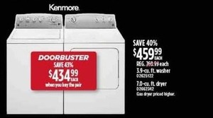 Kenmore 3.9-cu. ft. Washer or 7.0-cu. ft. Dryer