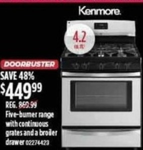 Kenmore Five-Burner Range With Continuous Grates & Broiler Drawer