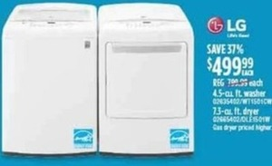 LG 4.5-cu. ft. Washer or 7.3-cu. ft. Dryer