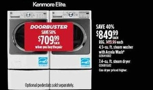 Kenmore Elite 4.5-cu. ft. Washer or 7.4-cu. ft. Steam Dryer