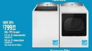 Kenmore 5.3-cu. ft. Washer or 8.8-cu. ft. Dryer