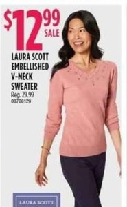 Laura Scott Embellished V-Neck Sweater