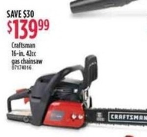 "Craftsman 16"" 42cc Gas Chainsaw"
