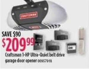 Craftsman 1-HP Ultra-Quiet Belt Drive Garage Door Opener