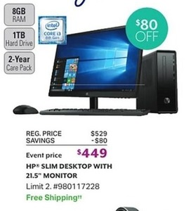"HP Slim Desktop with 21.5"" Monitor"