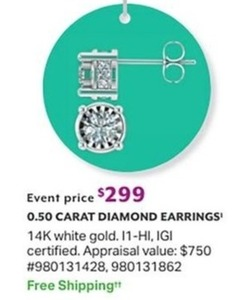50 Carat 14 K White Gold Diamond Earrings 299 0 At Sam S Club On