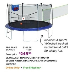 Skywalker Trampolines 15' Round Sports Arena Trampline and Enclosure