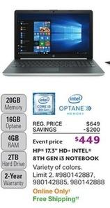 "HP 17"" HD+ Intel 8th Gen i3 Notebook"