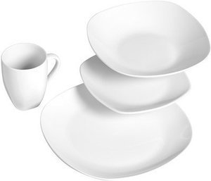 Tabletops Unlimited Quinto White Porcelain Square 16-pc. Dinnerware Set