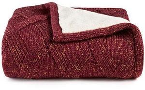 Reversible Metallic Sweater-Knit Lattice Fleece Throw