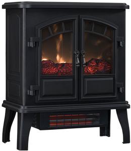 Duraflame 22.4-in W 5200-BTU Black Metal Flat Wall Infrared Quartz Electric Stove Thermostat