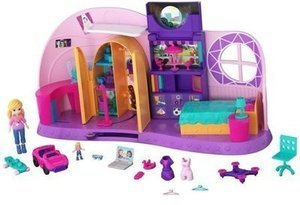Polly Pocket Go Tiny! Room Playset with Adventure Dolls and Accessories