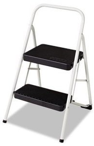 Cosco 2-Step Folding Steel Step Stool, 200lbs, 17 3/8w x 18d x 28 1/8h, Cool Gray