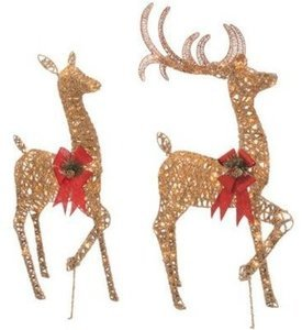 Holiday Time Light-Up Glittering Tinsel Deer Family 150 Lights for Indoor or Outdoor Use