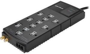 CyberPower 8 Feet 12 Outlets 4350 Joules Surge Protector with Telephone and Coaxial Protection (HT1208TCRC1)